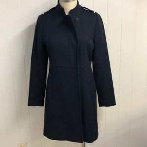 Zara Basic Cotton Wool Blend Navy Coat